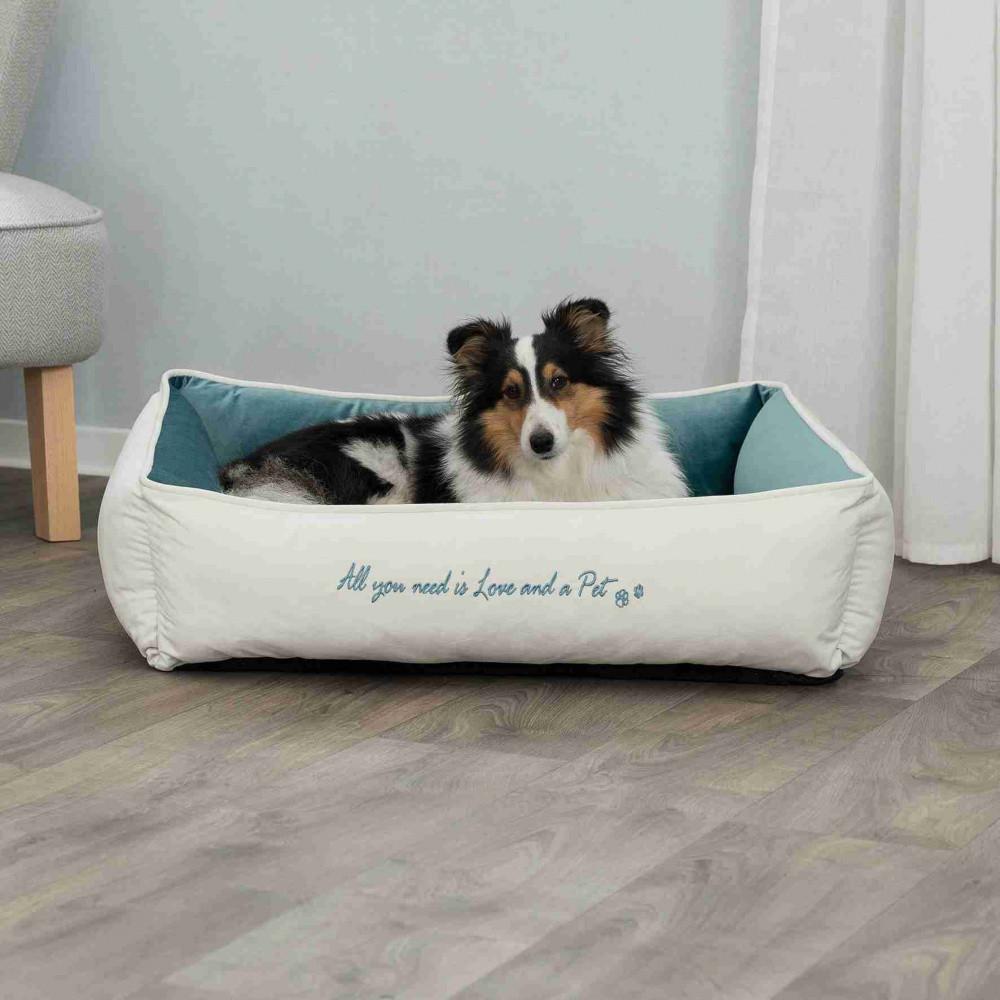Ліжко Pet's Home 80см*60 см Trixie кремовий-бірюзовий для собак