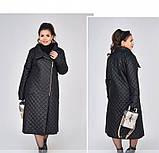 Пальто на диагональной змейке №1690-1-черный, фото 2