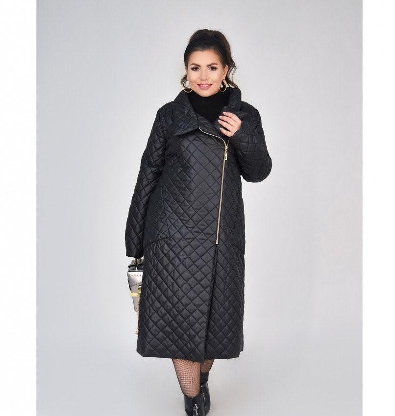 Пальто на диагональной змейке №1690-1-черный