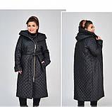 Пальто батал с капюшоном и поясом №1854-1-черный, фото 3
