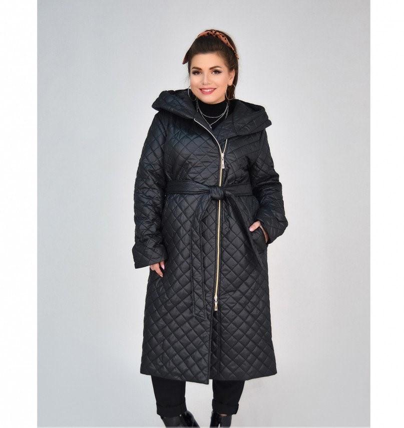 Пальто батал с капюшоном и поясом №1854-1-черный