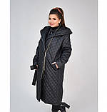 Пальто батал с капюшоном и поясом №1854-1-черный, фото 2
