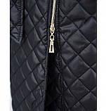 Пальто батал с капюшоном и поясом №1854-1-черный, фото 4