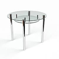 """Кухонный стол стеклянный """"Круглый прозрачный с полкой"""" стол для гостинной или кухни"""