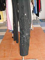 Лосины черные батальные с вышивкой бусами Aj - Sel