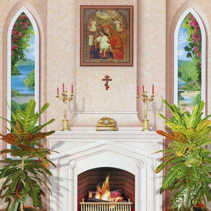Фотообои, камин, Домашний Очаг, 15 листов, 242 x 201cm