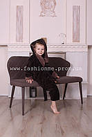 Халат махровый детский на мальчика с капюшоном коричневый, Турция 5-12лет