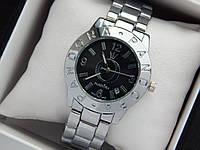 Женские кварцевые наручные часы  Пандора (Pandora) серебро, с черным циферблатом, фото 1