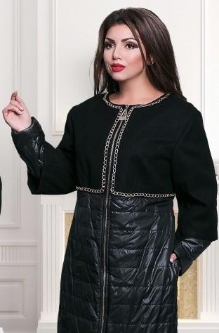 Пальто комбинированное с золотой фурнитурой №350-черный