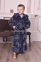Халат махровый детский на мальчика с капюшоном в стиле Gucci серый, Турция 5-12лет