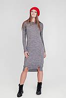 Красивое серое платье (42-44, серый, 60% акрил/ 30% шерсть/ 10% эластан)