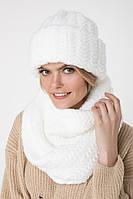 Белый вязаный снуд (One Size, ярко-белый, 60% акрил/ 30% шерсть/ 10% эластан)