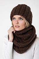 Вязаный объемный снуд зимний коричневого цвета, One Size