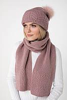 Вязаный женский шарф (One Size, марсала, 60% акрил/ 30% шерсть/ 10% эластан)
