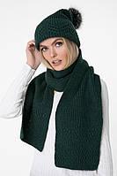 Вязаный зеленый шарф (One Size, темно-зеленый, 60% акрил/ 30% шерсть/ 10% эластан)