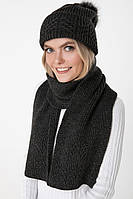 Вязаный серый шарф (One Size, темно-серый, 60% акрил/ 30% шерсть/ 10% эластан)