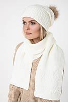 Вязаный белый шарф (One Size, белый, 60% акрил/ 30% шерсть/ 10% эластан)