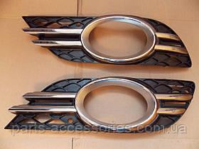 Решітки решітка ліва права хром авангард в бампер Mercedes E-Class W211 Аvangard 06-09 нові оригінал (прод