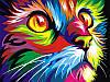 Картина по номерам 40×50 см. Радужный кот Художник Ваю Ромдони - Фото