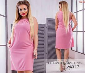 Летнее платье больших размеров без рукавов, с карманами  арт 709/1-610