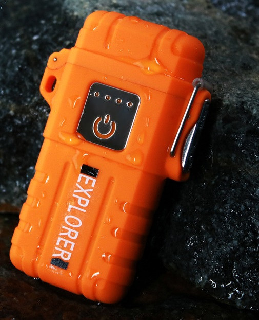 Вологозахищена електроімпульсна запальничка SUNROZ GV-317 Explorer акумуляторнаUSB Оранжевий (SUN5541)