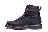 Мужские зимние кожаные ботинки ZG Black Military Style, фото 1