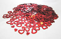 Конфетти Сердечки Красные, 1 см 50 грамм