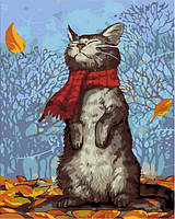 Картина по номерам 40×50 см. Котик в шарфике Художник Макото Мурамацу MATATAKU, фото 1