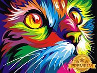 Картина по номерам 40×50 см. Babylon Premium Радужный кот Художник Ваю Ромдони