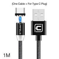 Магнитный USB кабель LED для быстрой зарядки Cafele с адаптером для Type C в комплекте 1м (черный)