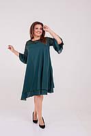 Нарядное женское платье свободного кроя Шифон и гипюр Размер 50 52 54 56 58 60 62 64 Разные цвета, фото 1