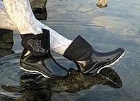 Женские резиновые  сапоги, полу сапоги с утеплителем черные липучка