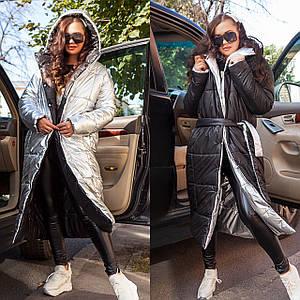 Женское зимнее двустороннее пальто-одеяло с поясом 42-46 р