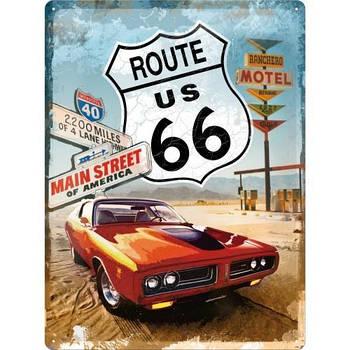 Табличка Nostalgic-Art Route 66 Red Car (23123)