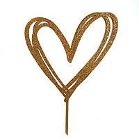 """Топпер """"Серце"""" золотий з глітером"""