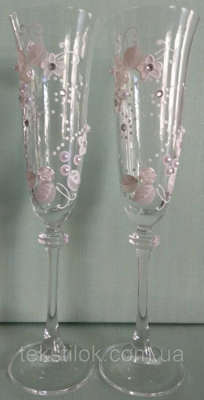 Свадебные бокалы с декором  Цветы