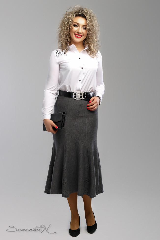 Элегантная серая женская юбка-годе батал  54-60 размер