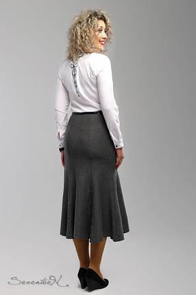 Элегантная серая женская юбка-годе батал  54-60 размер, фото 2