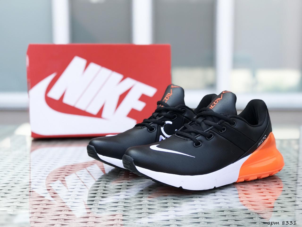 Мужские кроссовки Nike Air Max 270 (черно-оранжевые)