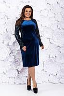Батальне бархатне плаття з гіпюровими рукавами . Р-ри 50-56