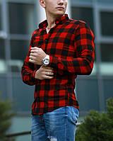 Рубашка мужская клечатая красная