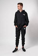 Мужской спортивный костюм. Код модели 12 02/76-19. Цвет черный.