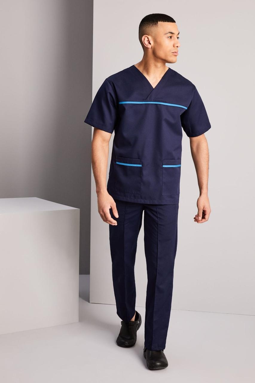 Медицинский костюм хирургический мужской тёмно-синий с бирюзой Atteks - 03311