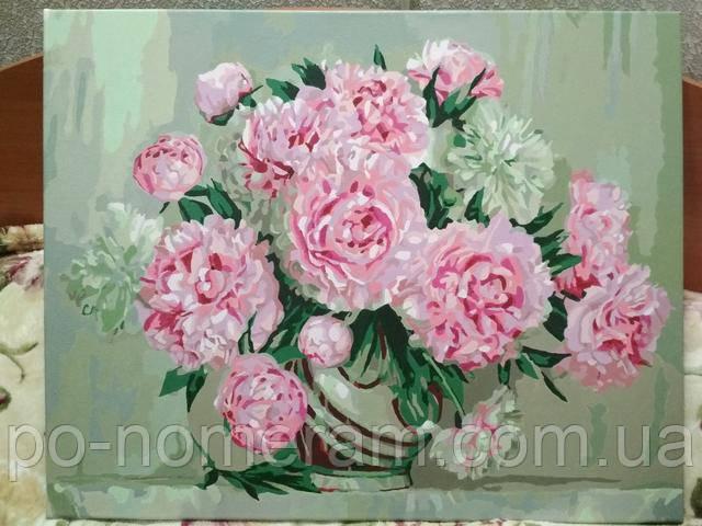 Картина по номерам розовые пионы