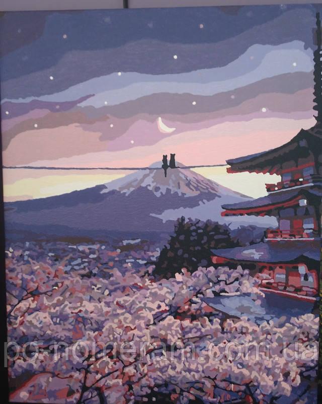 Картина по номерам Романтика цветущей сакуры готовая работа