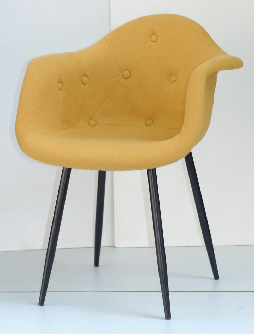 Кресло  Leon Soft Metal BK- Шерсть, цвет желтый W-4
