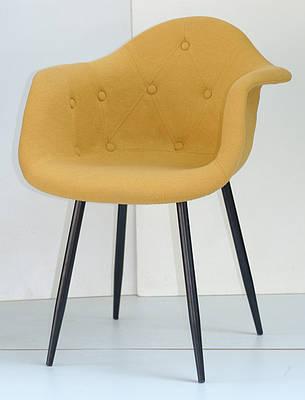 Кресло  Leon Soft Metal BK- Шерсть, цвет желтый W-4, фото 2