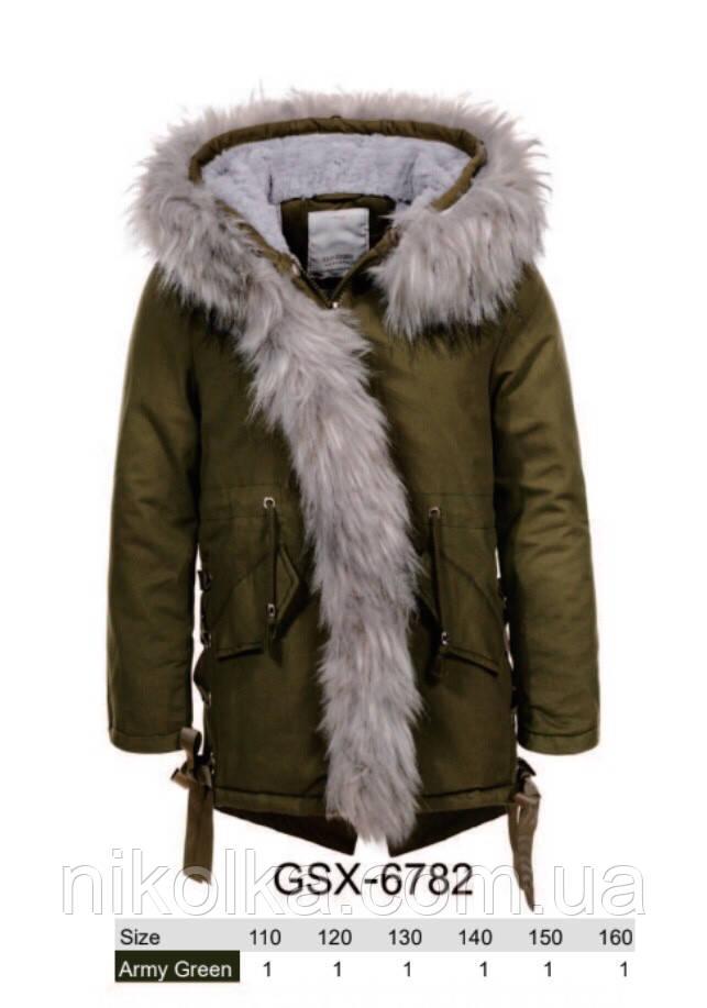 Куртки на меху для девочек оптом, Glo-Story, 110-160 рр., арт. GSX-6782