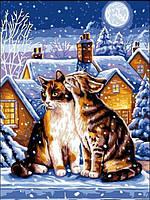 Картина по номерам 30×40 см. Зимняя ночь