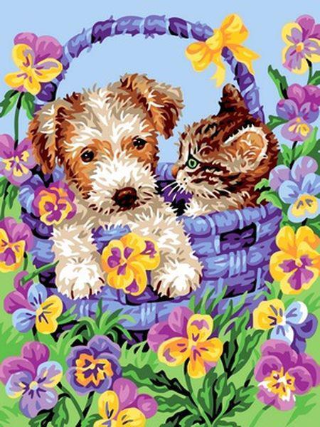 Картина по номерам 30×40 см. Корзина дружбы собака и кошка